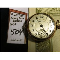 Hampden  Wrist Watch style Gold-filled Watch, not running;  & a cancelled 100 Share Stock Certifica
