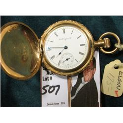 "Small Ladies size Hunting Case Pocket Watch ""Elgin Watch Co."", scroll engraved case. Runs."