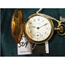 """Success"" Hunting Case Pocket Watch, no crystal, engraved ""Lillie Kutcher"", gold-filled case, runs."