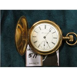 """Hampden"" Hunting Case Style Pocket Watch. Not running. Scalloped edge, highly engraved. Gold-filled"