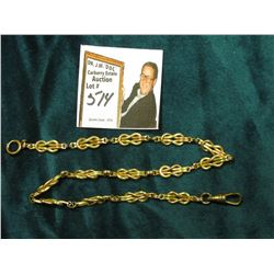 "13.5"" Antique Pocket Watch Chain, looped links. Appears to be Gold-filled."