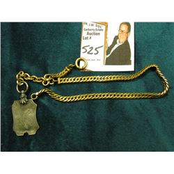 "10"" Antique Heavy Link Watch Chain, Gold-filled, with a Sterling Silver Watch fob engraved with a Du"