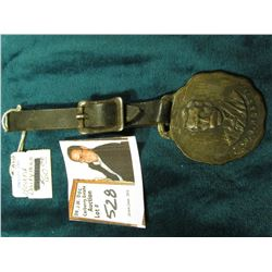 """W.D. Hoard"", ""Official Badge of the Hoard Dairman Junior's Club"" Watch Fob with leather strap."