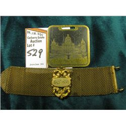 Mesh Watch Strap with Scroll Gold-filled attachment. Iowa State Capitol fob included.