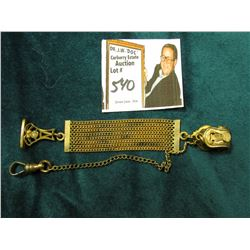 Multiple chain gold-filled Fob with Watch Chain.
