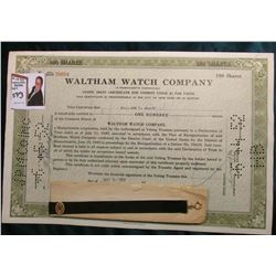 "Cancelled Stock Certificate for 100 Shares of ""Waltham Watch Company"" Stock; & a Ladies Victorian Wa"
