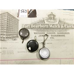 "(3) Different Retractible Watch Chains & an invoice from ""Fort Dearborn Watch & Clock Co….12/14/1921"