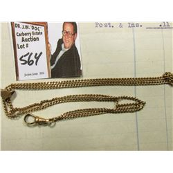 "Sliding Gold-filled Watch Chain with opal sets, one of which is missing & an invoice from ""Fort Dear"
