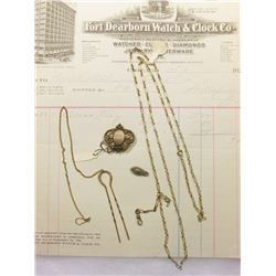 "Hair Pin with watch chain; thin linked necklace; small atachment for chain; & an invoice from ""Fort"