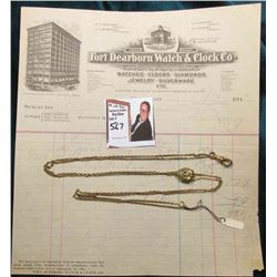 "44"" Sliding Watch Chain with gold-filled Grape Cluster; & an invoice from ""Fort Dearborn Watch & Clo"