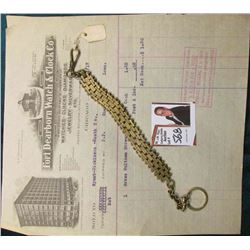 "Hinged Chain Men's Heavy Watch Fob &  an invoice from ""Fort Dearborn Watch & Clock Co….10/1/17""."