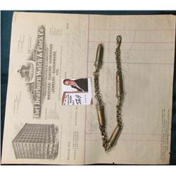 "Unusual Linked Men's Watch Chain with crowned devices & an invoice from ""Fort Dearborn Watch & Clock"