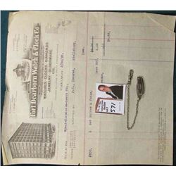 "Men's Watch Chain with belt attachment & an invoice from ""Fort Dearborn Watch & Clock Co….3/26/23""."