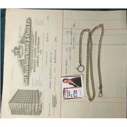 "Men's Heavy 21"" Sterling Silver Watch Chain & an invoice from ""Fort Dearborn Watch & Clock Co….7/12/"