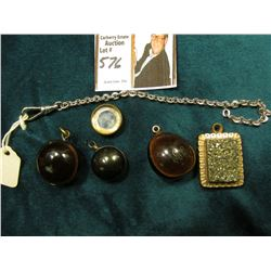 Small Watch Chain, no ring on end; Iron Pyrite & Agate Gold-filled Pendant; small compass; & (3) sma