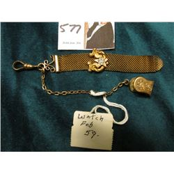Wire mesh Watch fob with gold-filled attachments one of which has five inlaid  seed pearls and an op