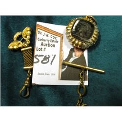 Small Gold-filled Broach style Watch Chain; a second smaller Watch Chain; & a Black Onyx Intaglio Ca