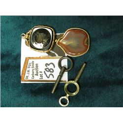 Gold-filled Framed Agate Pendant for a Watch Chain; (2) Watch Keys; & a black Onyx Intaglio Cameo in