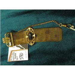 Antique Wire mesh Watch fob with gold-filled attachments one of which has an Amethyst inset.