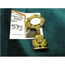 Gold filled Watch Fob Attachment with floral design.
