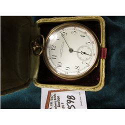"""American Waltham Watch Co"" Pocket Watch with open face case engraved with Initials, runs great , ca"