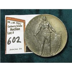 "1917 Wellkampfe Dem Sieger Das Kriegs Ministerium"" Notgeld metal depicting an Ancient Warrior with s"