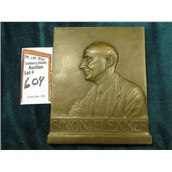 """From The Members of the Rockefeller Institute 1935"" Bronze recatngular medal of Simon Flexner, M.D."