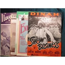 Several old 1925 era Books of Sheet Music, some racially prejudice Covers & etc.