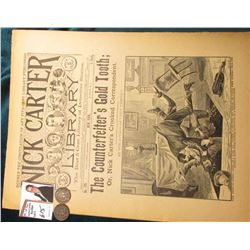 "No.179 ""Nick Carter Library 5c"" January 5, 1895 ""The Counterfeiter's Gold Tooth;"" publication; 1897"