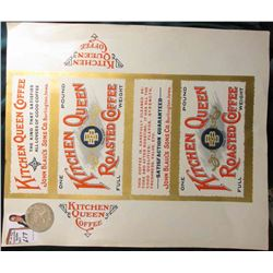 "Mint unused ""Kitchen Queen Roasted Coffee One Pound Box label from John Blaul's Sons Co. Burlington,"