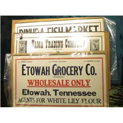 "Hanging Sign ""Dinuba Fish Market…Dinuba Calif.""; ""Etowah Grocery Co. …Etowah Grocery Co."" hanging si"