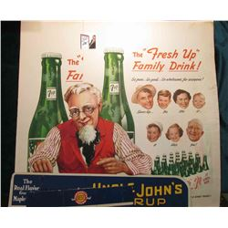 "Stand up card board sign ""The Real Flavor from the Maple Grove Uncle John's Syrup""; & (2) different"