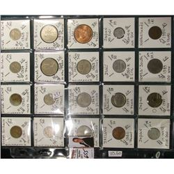 (20) different World Coins in a plastic page, all attributed by KM no., size, denomination, & etc. I