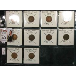 (10) U.S. Indian Head Cents. 1888, (2) 1893, 1897, 1899, 1902, (2) 1904, & (2) 1906. Red book value