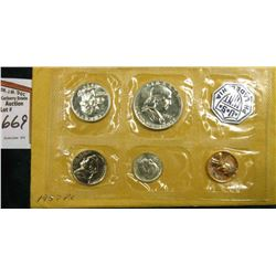 1957  U.S. Proof Set. Lincoln Cent, Jefferson Nickel, Roosevelt Silver Dime, Washington Silver Quart