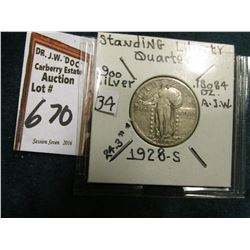 1928 S Standing Liberty Quarter. VF.
