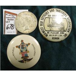 "1974 Mount Pleasant, Iowa Midwest Old Settlers and Thresher's Association Pin-back; ""Grand Army of t"