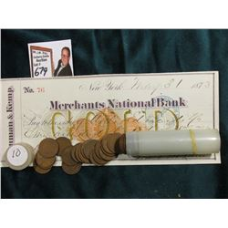 1910 P Roll of U.S. Wheat Cents in circulated condition in a plastic tube, approx. 50 pcs.; & 1873 C
