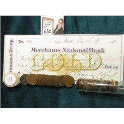 1911 P Roll of U.S. Wheat Cents in circulated condition in a plastic tube, approx. 50 pcs.; & 1874 C