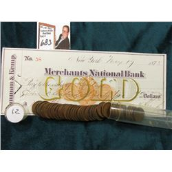 1912 P Roll of U.S. Wheat Cents in circulated condition in a plastic tube, approx. 45 pcs.; & 1873 C