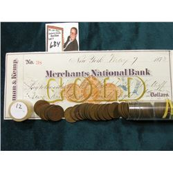 1912 P Roll of U.S. Wheat Cents in circulated condition in a plastic tube, approx. 50 pcs.; & 1873 C