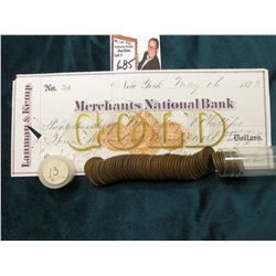 1913 P Roll of U.S. Wheat Cents in circulated condition in a plastic tube, approx. 50 pcs.; & 1873 C
