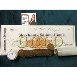 1917 P Roll of U.S. Wheat Cents in circulated condition in a plastic tube, approx. 50 pcs.; & 1873 C