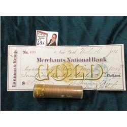 1955 D BU Roll of U.S. Wheat Cents in a plastic tube, approx. 50 pcs.; & 1874 Check drawn on Merchan