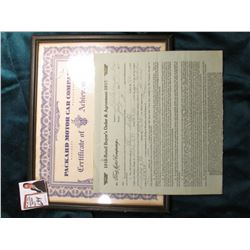 Packard Motor Car Company Certificate of Achievement, April 3, 1952; & 1915-17 Bill of Sale for a Fo