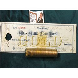 1954 S BU Roll of U.S. Wheat Cents in a plastic tube, approx. 50 pcs.; & 1869 Check drawn on The Ban