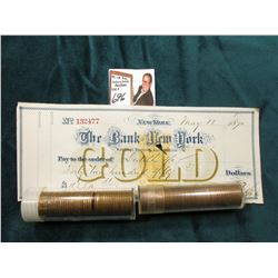 1955 D & 57 D BU Roll of U.S. Wheat Cents in a plastic tube, approx. 50 pcs. in each roll; & 1879 Ch