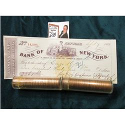 1964 D & 65 P BU Rolls of Lincoln Cents in plastic tubes, approx. 50 pcs. in each roll; & 1869 Check