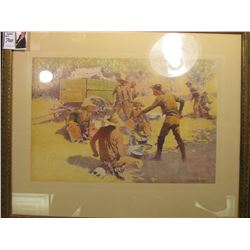 "Framed ""Frederic Remington"" Print. 8 1/2"" x 12 1/2"". Depicts Cowboys at Chuckwagon, one is going for"