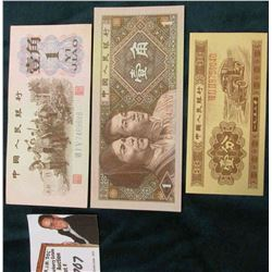 1 Yi Jiao, 1962, Zhongguo Renmin Yinhang Banknote; 1 Yi Jiao, 1980; & an unknown Communist China ban